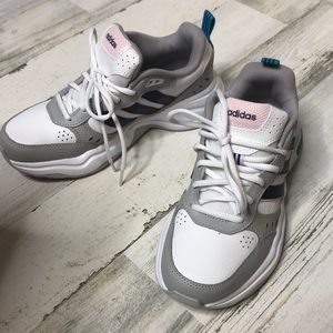 Adidas Strutter Lace Up Sneakers White Gray 6